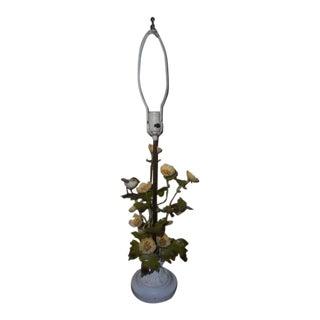 Tole Italian Floral Bird Lamp