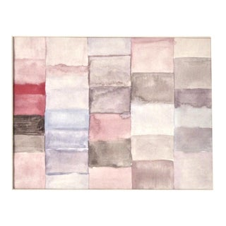 Modernist Grid Watercolor Painting in Pink