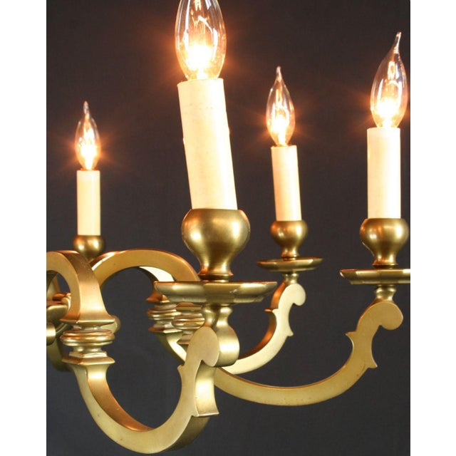 Vintage 1950 French Brass 8-Arm Chandelier - Image 3 of 7
