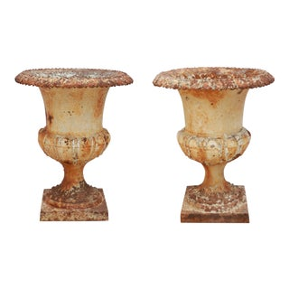 Iron New Orleans Antique Urns - A Pair