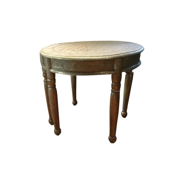 Repousse Nickel Demi-Lune Tables - A Pair - Image 1 of 3