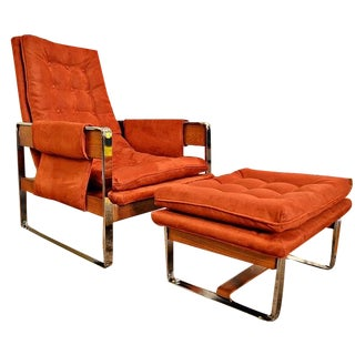 Mid-Century Baughman Style Sling Chair & Ottoman