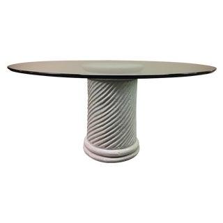 Glass & Off-White Ceramic Column Dining Table
