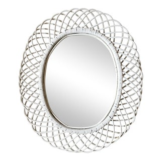 Vintage Henry Link Style Oval Flower Burst Wicker Mirror