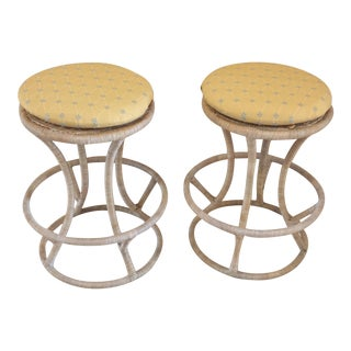 Vintage Wrapped Wicker Rattan Bar Stools - A Pair