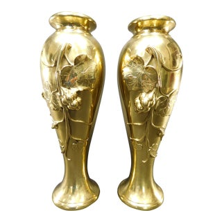 Art Nouveau Grape Vine & Leaves Bronze Vases - A Pair