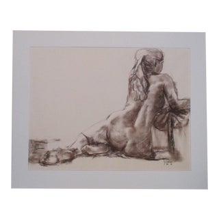 Female Nude Drawing Done in Pastel Signed