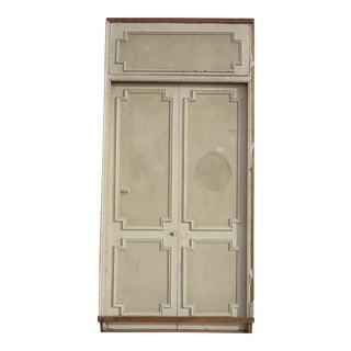 Antique White Geometric Design & Solid Header Transom Doors - A Pair