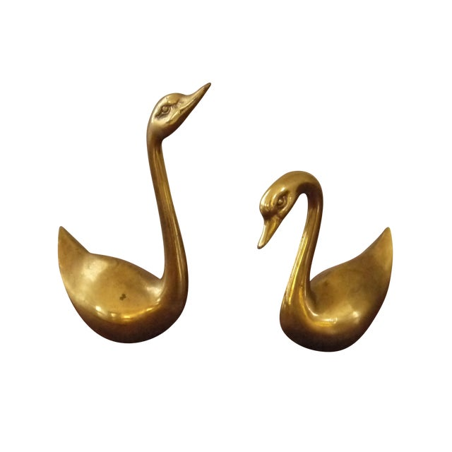 Brass Swans - A Pair - Image 1 of 3