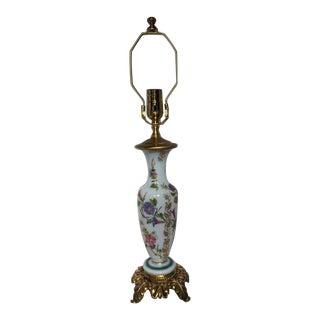 Vintage Morning Glory Bristol Glass Table Lamp