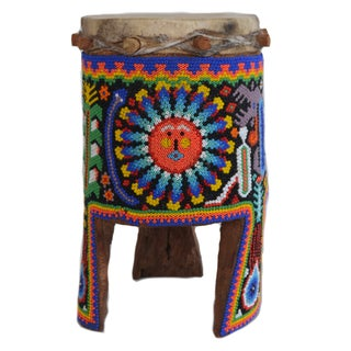 Huichol Beaded Decorative Drum