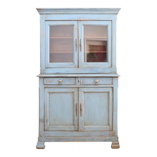 Antique Shabby Chic French China Hutch Cabinet