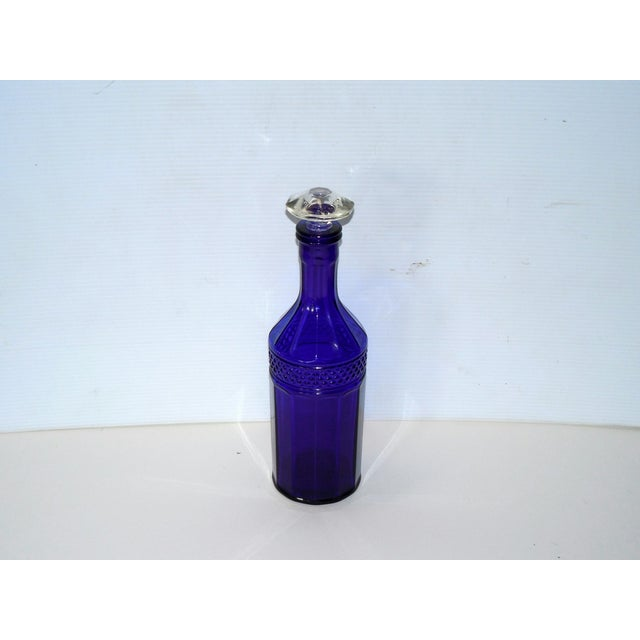 Faceted Cobalt Glass Decanter - Image 3 of 6