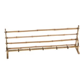 1950's French Bamboo and Brass Coat Rack