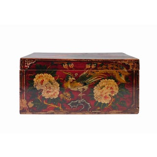 Vintage Red Flower Graphic Rectangular Wood Box