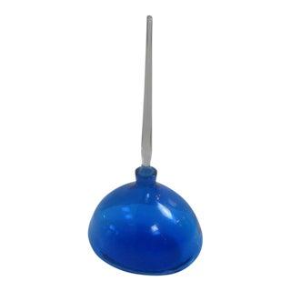 Blue Blenko Bulbous Stoppered Bottle