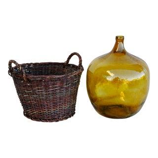 Jumbo French Amber Demijohn Bottle in Woven Grape Vine Basket