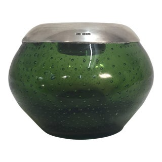 Sterling & Green Art Glass Matchstrike