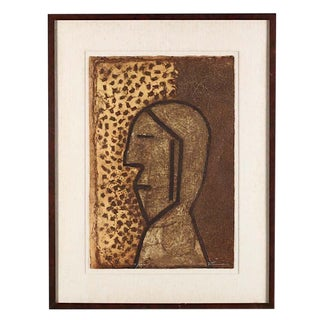 "Vintage Signed & Numbered Ltd. Ed. Abstract Mixograph-""Perfil""-Rufino Tamayo-Latin American Artist"