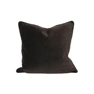 Chocolate Solid Italian Velvet Pillows - A Pair