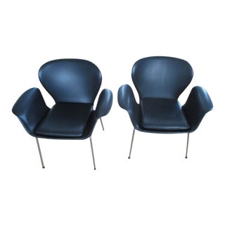 Black Westnofa Faux Leather Office Chairs - A Pair