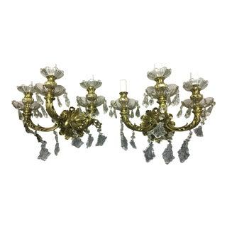 Vintage Spanish Bronze & Maria Theresa Crystal Wall Sconces - Pair