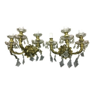 Vintage Spanish Bronze & Maria Theresa Crystal Wall Sconces - Pair