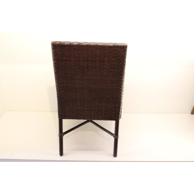 McGuire Thomas Pheasant Woven Leather Dining Arm Chair - Image 4 of 7