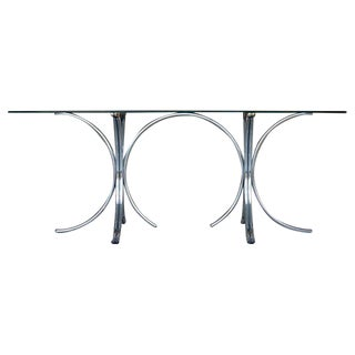 Vintage Tubular Chrome & Glass Dining Table