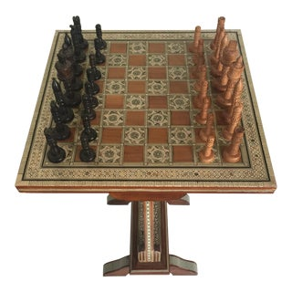 Vintage Inlaid Chess Table