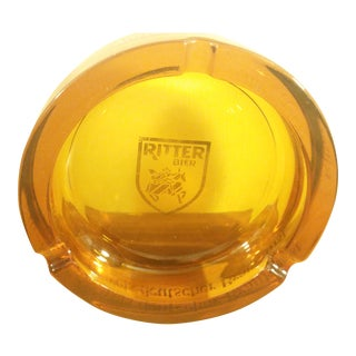 Italian Amber Glass Ashtray