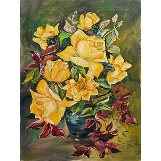 'Yellow Dog Roses' Original Painting by L. Leonard