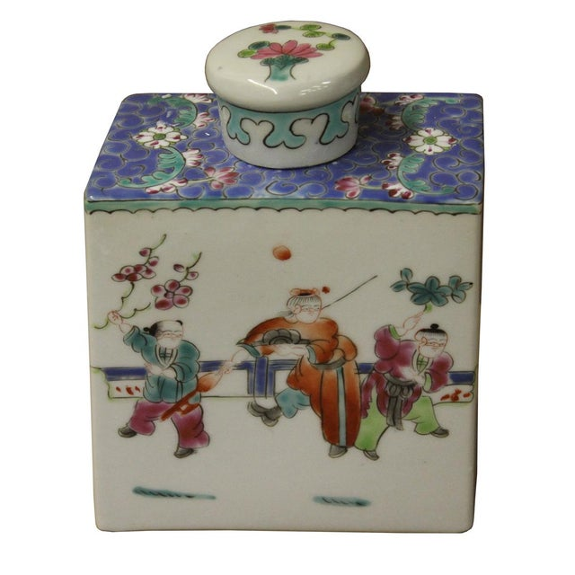 Image of Chinese Colorful Porcelain Tea Jar