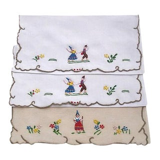 Madeira Embroidered Linen Napkin Cases - Set of 3
