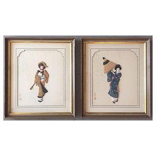 Japanese Geisha Wall Plaques- A Pair
