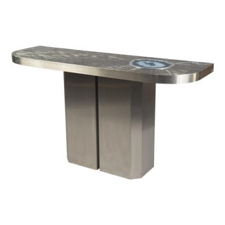 Blue Agate Steel Console