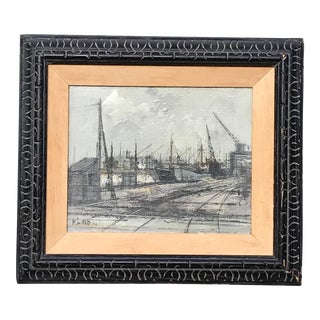 Industrial Harbour - Michel Girard Oil on Canvas Painting