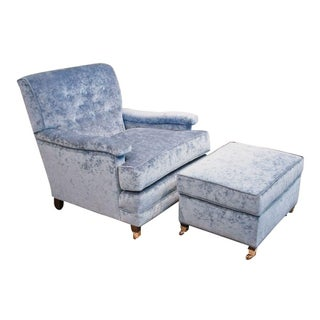 Blue Vintage Club Chair with Matching Ottoman