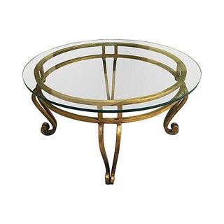 Gilt Glass-Top Coffee Table