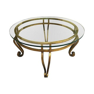 Gilt Glass-Top Coffee Table