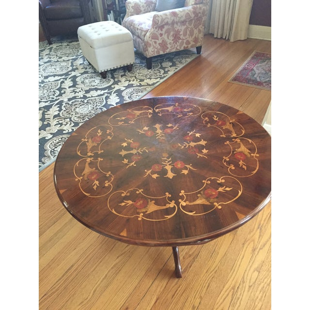 Inlaid Wood Round Coffee Table - Image 4 of 5
