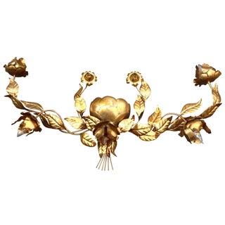 Gilt Italian Tole Lotus Light Wall Sconce Fixture