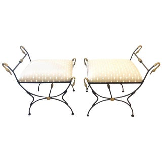 Iron & Brass Swan Motif Benches - A Pair