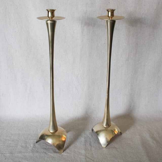 Image of Mid Century Solid Brass Candlesticks - A Pair