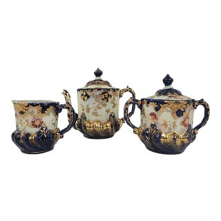 Antique French Gold & Cobalt Tea Service - Set of 3