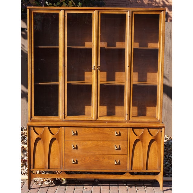 Broyhill Brasilia Mid Century Walnut China Cabinet Chairish