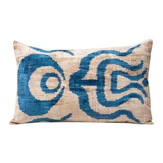 Mineral Blue Ottoman Silk Velvet Pillow
