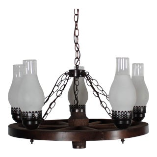 Folk Art Wagon Wheel Chandelier