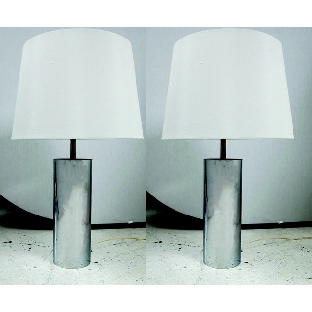 Image of Chrome Tube Lamps by George Kovacs - A Pair