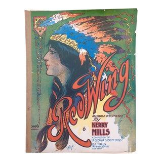 Art Nouveau Red Wing Sheet Music Book